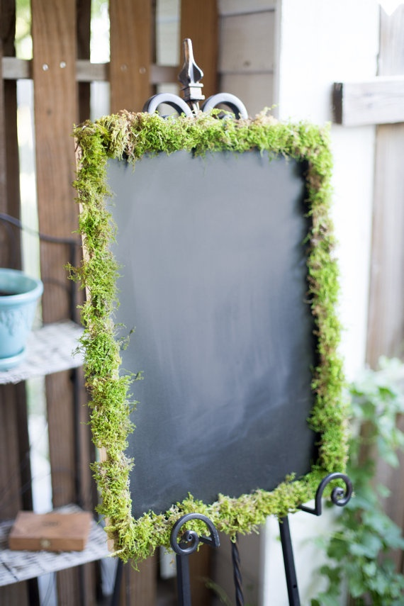 Patio table Stuff :Chalkboard with Moss Frame by MossyGifts on Etsy, $25.00