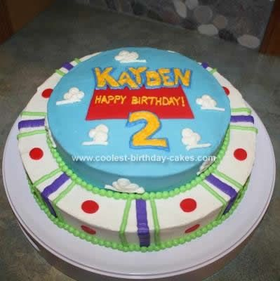 Homemade Toy Story Cake: For this Toy Story Cake I wanted to go with the Toy Story Theme without actually drawing a picture of a specific character. The birthday boy's favorite