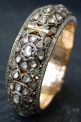 RONA PFEIFFER Very Large Flower Patterned Rose Cut & Pave Diamond Bangle Set in Sterling Silver & 14K Gold Backing, 11,000 USD