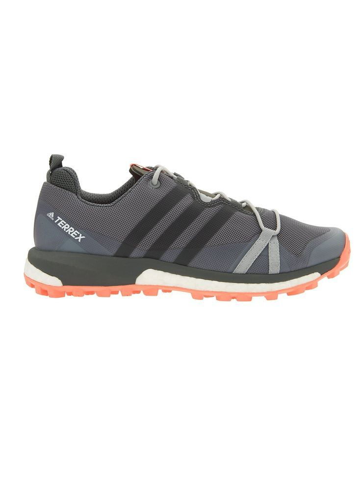 Also in black  . . . The Terrex Agravic by Adidas®️ A light, fast and stable trail running shoe provides Boost™️ endless energy return so you can push your limits and conquer mountain trails. These keep feet dry with a breathable GORE-TEX®️ membrane. A breathable EVA tongue for comfort and Continental®️ Rubber bike tire outsole tread for extraordinary grip.
