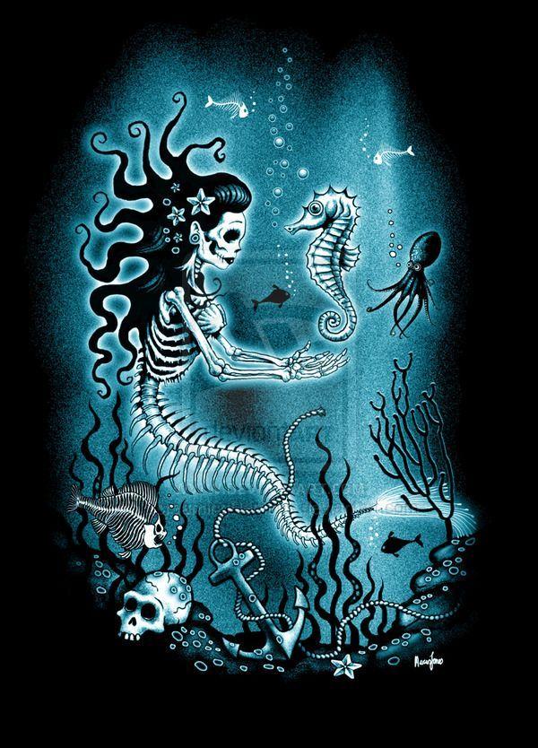 skull and mermaid