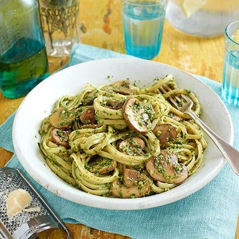 Mushroom, kale and walnut pesto pasta - midweek meal ideas - Good Housekeeping