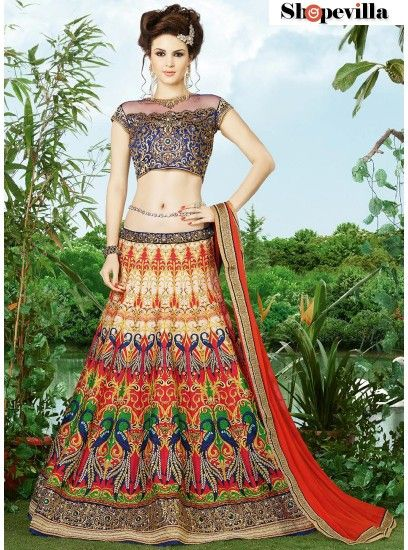 Festive Wear Multi Color Silk Lehenga Choli with Embroidery-9405