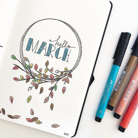 Hello M A R C H Had so much fun drawing this March cover page in my bullet journal!