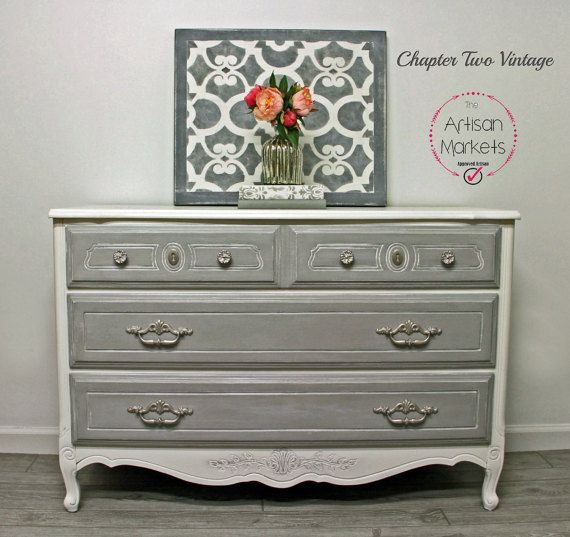 This French Provincial Dresser is perfect for the nursery as its just the right height and width for a changing pad, with enough room on the side for supplies and it has three large drawers. This dresser would also look beautiful in your little girls room! It is painted in Annie Sloan Chalk paint, Pure White and Paris Grey. It is completely sealed with wax for protection. The french saying translates into, My angel,  I love you , I adore you.  It measures, 30 1/2H x 44 1/4 W x 18D  ...