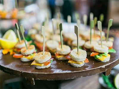 Y Tiny Sandwiches On Toothpicks For A Casual Yet Cly Wedding Etizer Colette S Catering