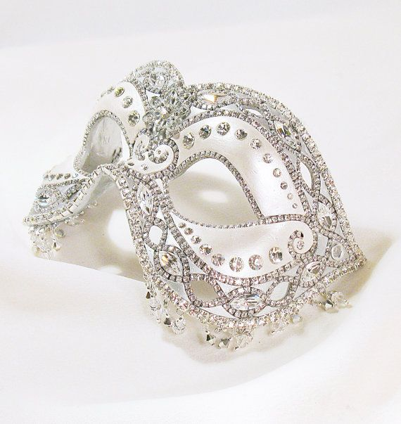 Masquerade Ball Mask - White Silver and Crystal - Venetian Mask - Wedding Mask - Forever