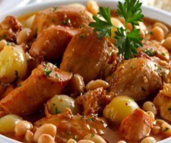 Cozido de frango com feijão-branco