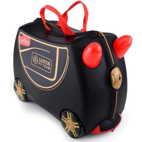 Maleta Trunki Fórmula 1    74,95 €.  Los niños pueden subirse encima de la maleta y ser remolcados por un adulto. Soporta 50 kg. de peso. Medidas de equipaje de mano. Genial para regalo.