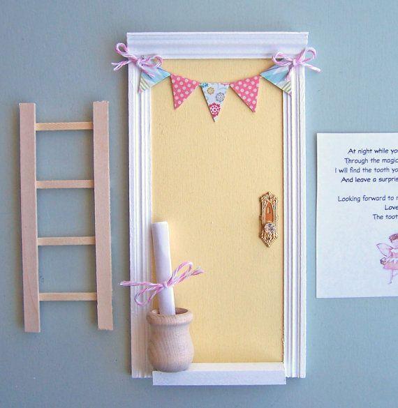 Yellow tooth fairy door yarn wreath with felt flowers and for Tooth fairy door