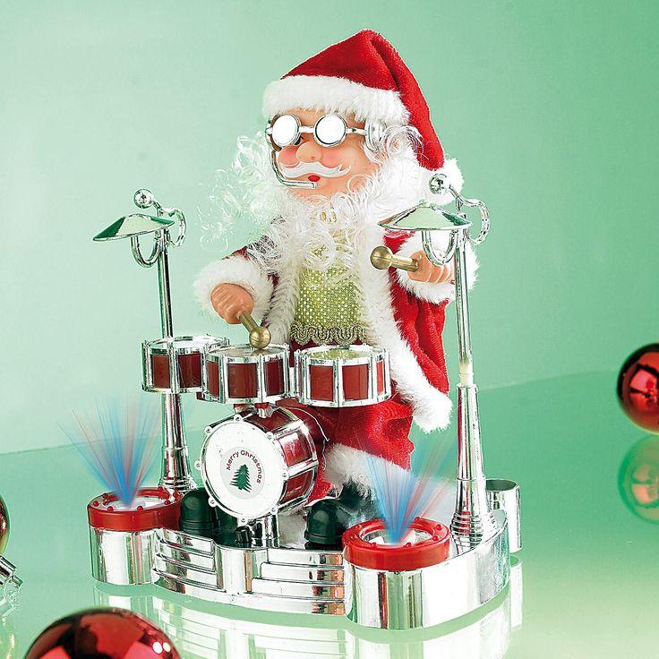 Infactory Singender Schlagzeuger Weihnachtsmann Mit LED Lightshow:  Amazon.de: Auto
