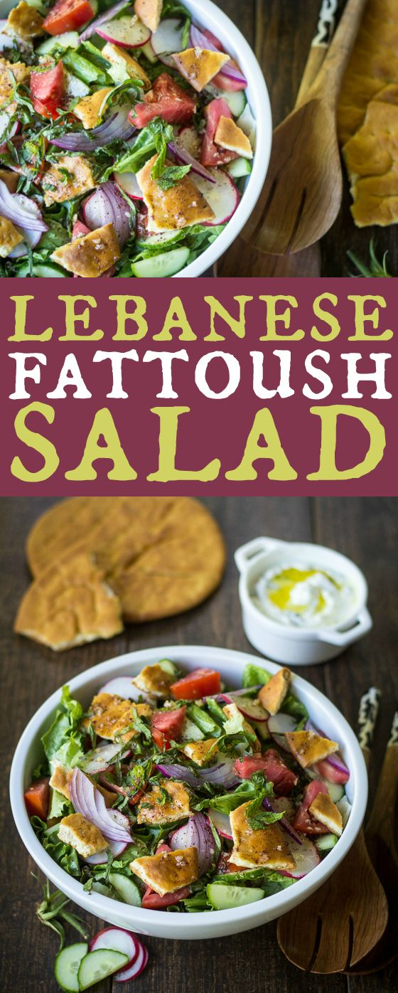 Lebanese Fattoush Salad: So simple, yet packed with flavor! I love this with roast chicken, kebabs, or just as a healthy lunch.