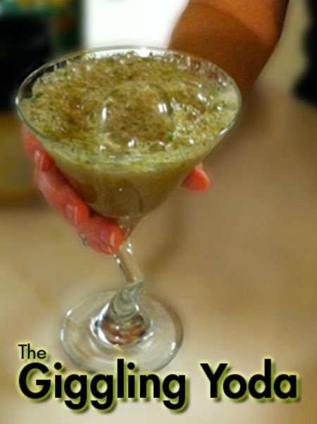 Do or do not make this Giggling Yoda cocktail. There is no try. However, if you enjoy fresh fruit, ginger ale and vodka, then there is no excuse not to create this cocktail at home – even if it does look a little like the swamp waters of Dagobah.