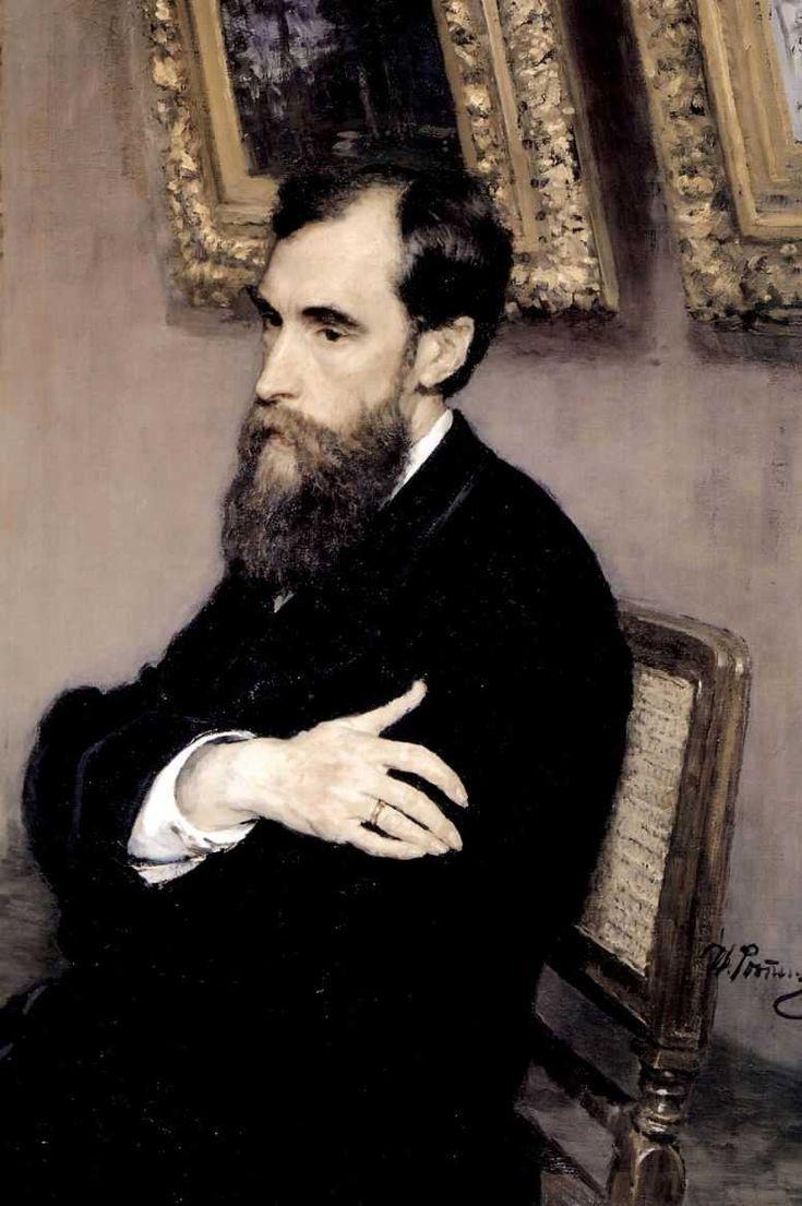Ilya Repin: Портрет П.М.Третьякова 1883г/Portrait of P. M. Tretyakov, 1883. Tretyakov Gallery, Moscow.