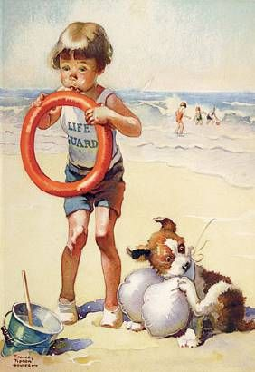 Illustration House, Inc - Young Boy Life Guard FRANCES LIPTON HUNTER