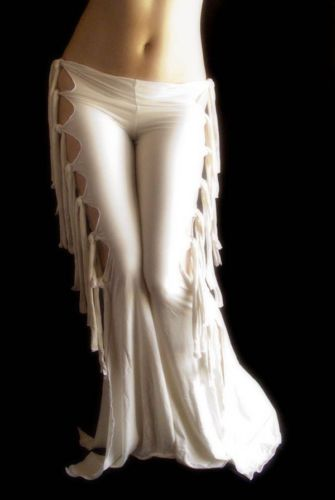 Sexy Exotic White Gothic Tribal Fusion Belly Dance Pant Fire Hoop Festival Wicca | eBay