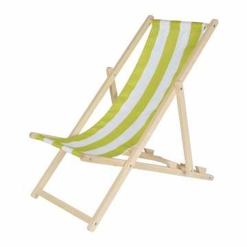Ontspan van een drukke middag spelen of een dagje strand in deze ligstoel speciaal voor kinderen van Eichhorn. De ligstoel heeft een stevig houten frame en een wit/groen gestreept doek van stevig polyester. Na het luieren klap je de stoel eenvoudig weer in. Maximale ...