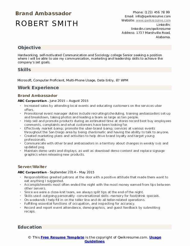 Resume Branding Statement Examples Beautiful Brand Ambassador Resume Samples Resume Examples Professional Resume Samples Human Resources Resume