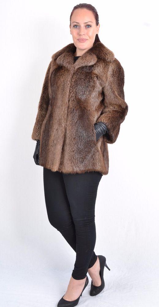 US487 softy Nutria Beaver Fur Jacket Coat no mink Jacket Pelzjacke ~ Sz M US 10 #Handmade #BasicJacket #Outdoor