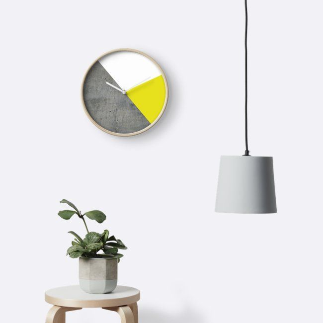 Concret vs Corn Yellow Clock by ARTbyJWP via Redbubble #homeoffice #homedecor #clock #wallclock #walldeco #shop #shopping #decoration #geometric - Features: Modern printed polypropylene face without plexiglass. Bamboo wood frame with natural finish or painted black or white 4 customisable metal hand colours to choose from Quartz clock mechanism (AA battery not included). Built in hook at back for easy hanging.