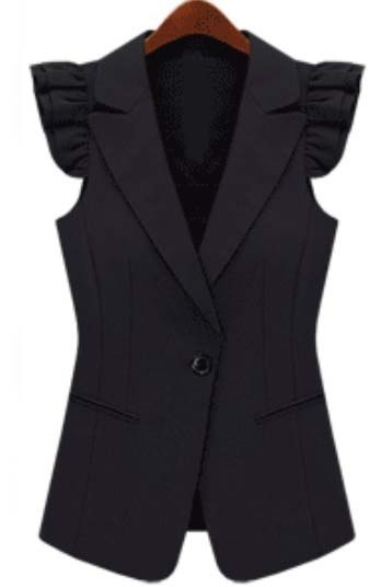Black Notch Lapel Sleeveless Ruffles Outerwear 0.00
