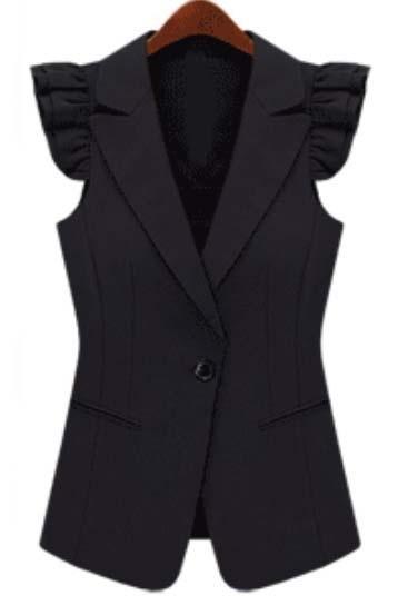 Black Notch Lapel Sleeveless Ruffles Outerwear 0.00