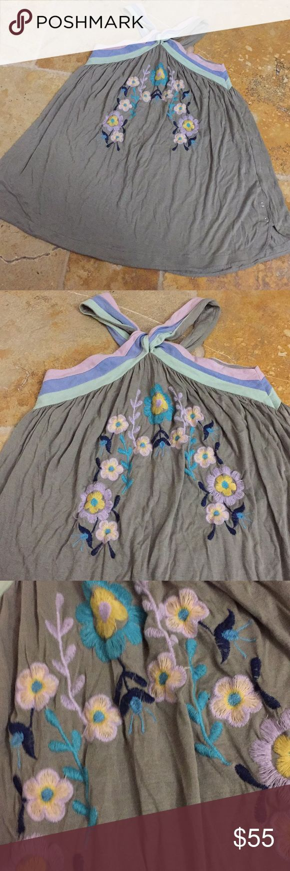 Rebel Yell 100% rayon retro w/boho embroidery Retro color 100%rayon minidress with embroidery & crossed neckline , super easy and casual swing style. Colors: olive green pastel pink, soft periwinkle, soft green embroidery navy turquoise yellow pink Rebel Yell Dresses Mini