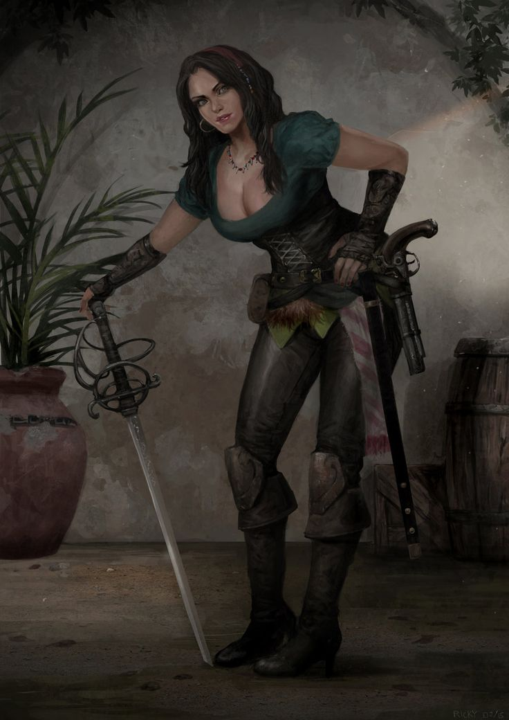 Anya The Pirate by rickyryan female buccaneer sword pistol corset boots armor clothes clothing fashion player character npc | Create your own roleplaying game material w/ RPG Bard: www.rpgbard.com | Writing inspiration for Dungeons and Dragons DND D&D Pathfinder PFRPG Warhammer 40k Star Wars Shadowrun Call of Cthulhu Lord of the Rings LoTR + d20 fantasy science fiction scifi horror design | Not Trusty Sword art: click artwork for source