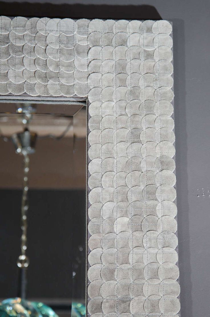 Modern Rectangular Full-Length Mirror with Suede Frame Design image 4
