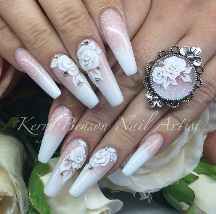 Vintage inspired pink & white nails. The Ring is gorgeous too