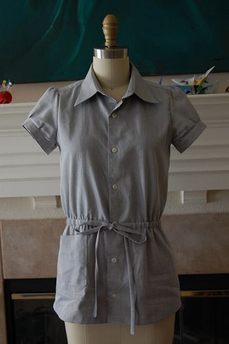 :: clevergirl.org ::: 106. Refashion 12: Laverne Drawstring Shirt from Men's Dress Shirt