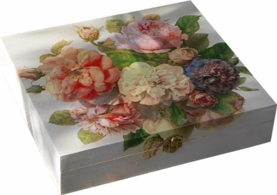 Caja de madera rosas antiguas