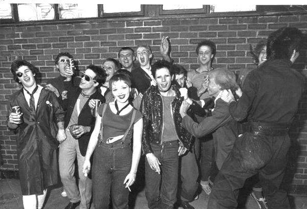 Punks outside the Chelmsford City Rock Festival, 1977. Photo by Sean Byrne