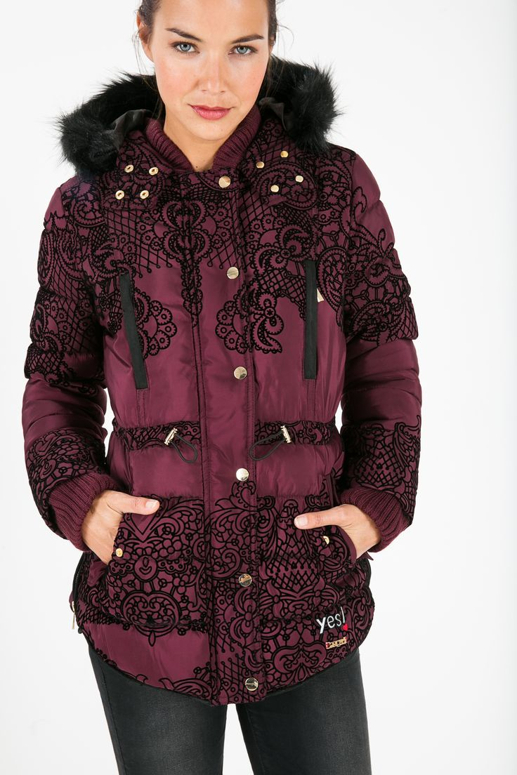 """Our AW15 """"YES"""" collection has something for everyone. This burgundy parka is bang on trend with its autumn hues and its earthy embroidery. You'll even want to wear it around your home!"""