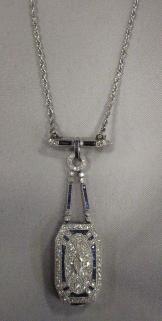 Art Deco Platinum, Sapphire, and Diamond Pendant Watch, Dreicer & Co. | Skinner Auctioneers