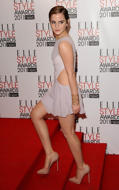 Emma Watson Cut-out Mini Dress and Louboutin Pumps