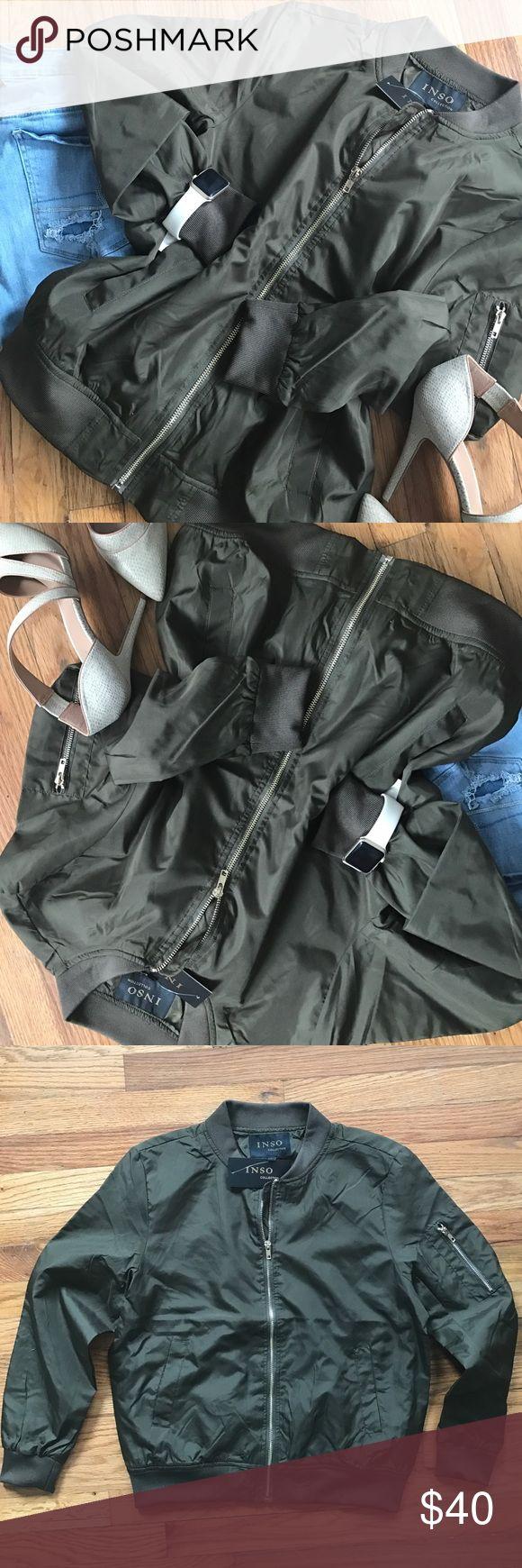 Olive green bomber jacket Olive green bomber jacket Jackets & Coats Utility Jackets