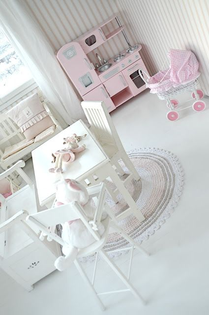 Pretty girly playroom, too white though for kids
