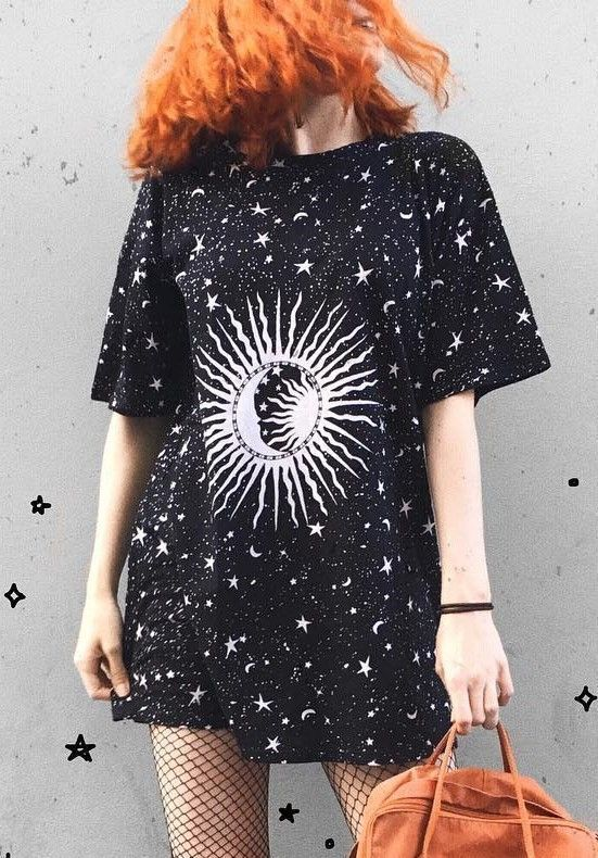 Crescent Stars Print Top – #shirts #tops #fashion #wicca #witch #nugoth