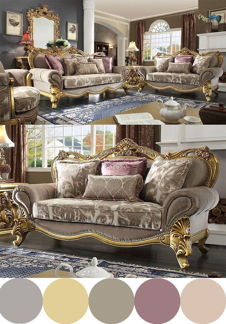 HD 1634 Homey Design upholstery living room set Victorian ...