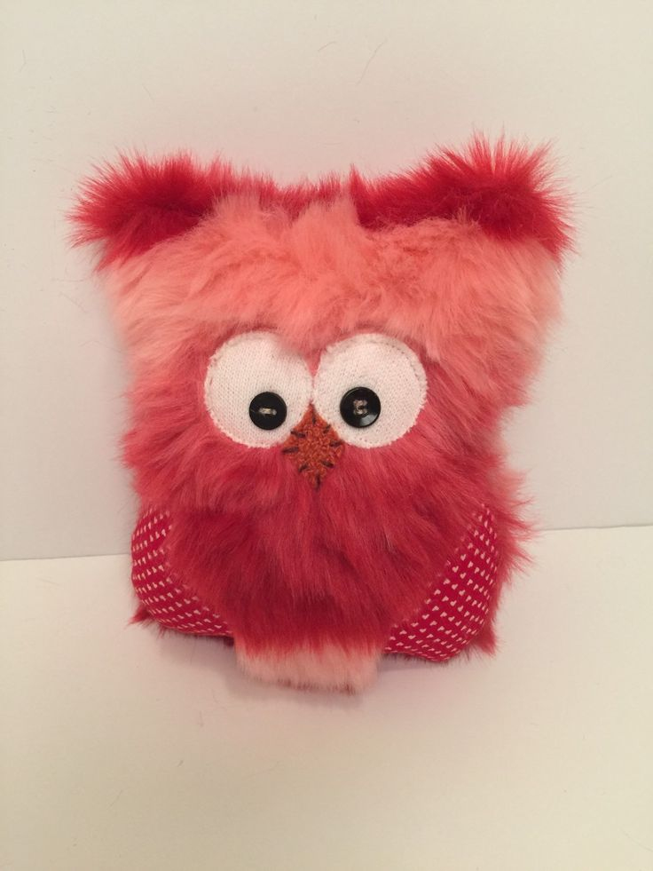 Valentine Owl Pillow In Red And Pink Fur By Thelittlegreenbean On Etsy