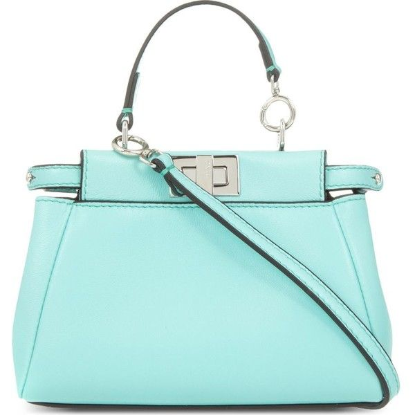 FENDI Peekaboo micro leather shoulder bag (5.030 BRL) ❤ liked on Polyvore featuring bags, handbags, shoulder bags, mint, blue leather shoulder bag, blue handbags, mint purse, blue purse and genuine leather purse