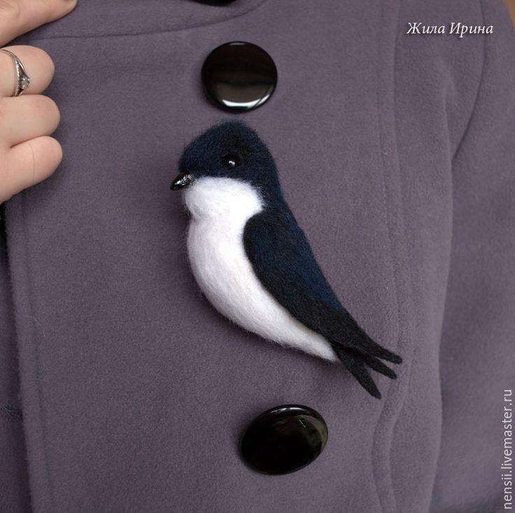 Купить Броши валяные Птички - комбинированный, снегирь, птичка брошь, птичка, птица брошь