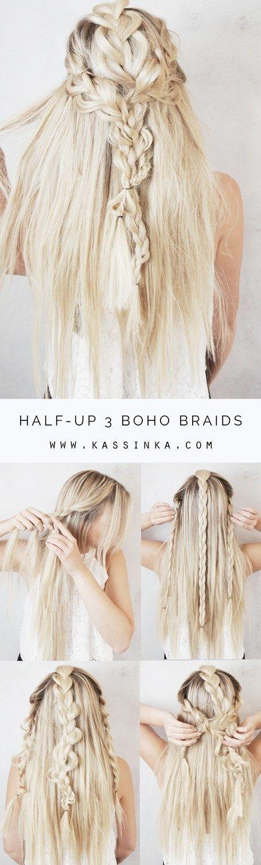 Tres trenzas bohemias semirrecogidas | 17 Sensacionales peinados con trenzas que…