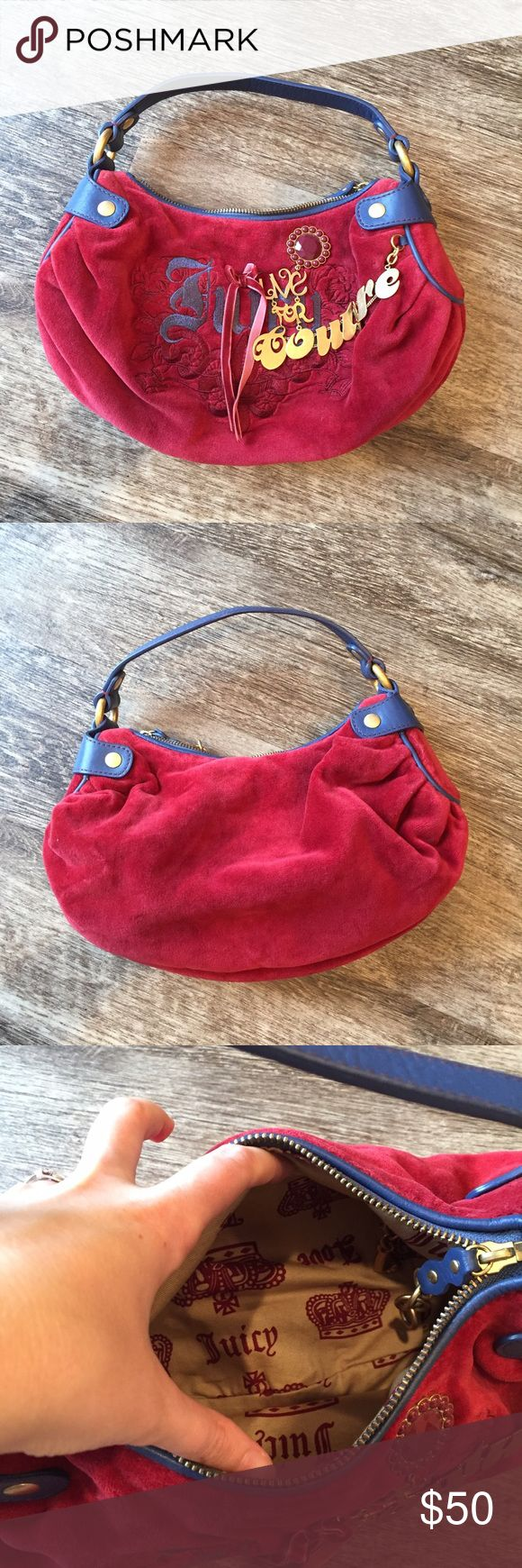 Live for Juicy Handbag Navy handle and red bag, amazing condition! AUTHENTIC Juicy Couture Bags Hobos
