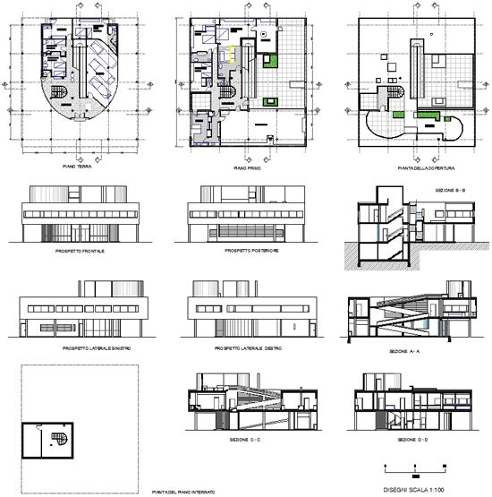 17 best images about architecture orthographics on for Villa plan dwg
