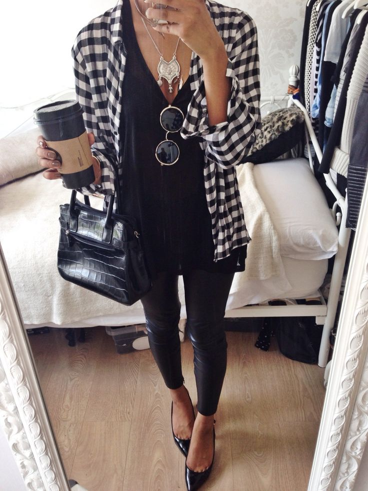 All black with boyfriend button down and pumps