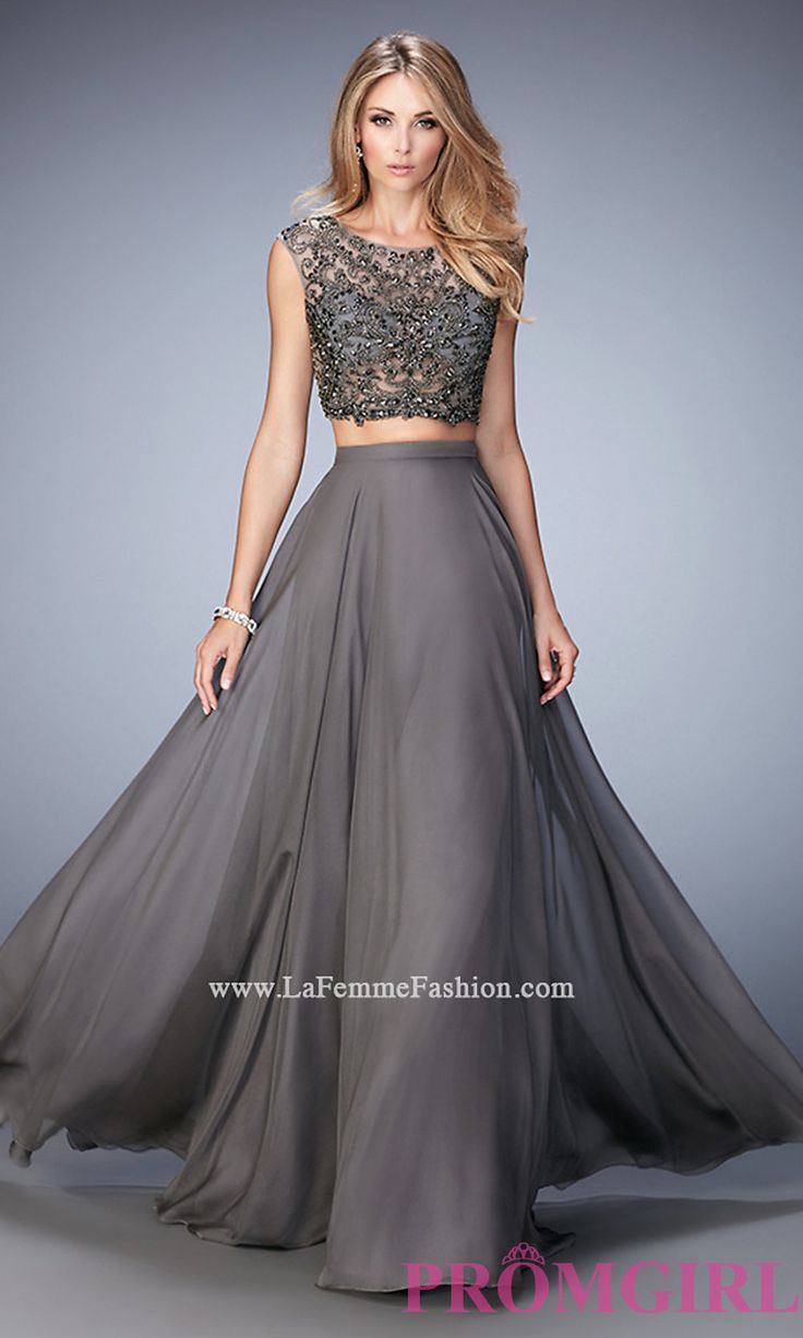Long Gigi TwoPiece GunmetalGray Prom Dress Shops