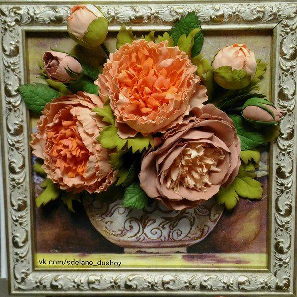 Картина с цветами, работа нашего ученика из фоамиран, DECO, декупаж. Мастер-классы и магазин в Санкт-Петербурге