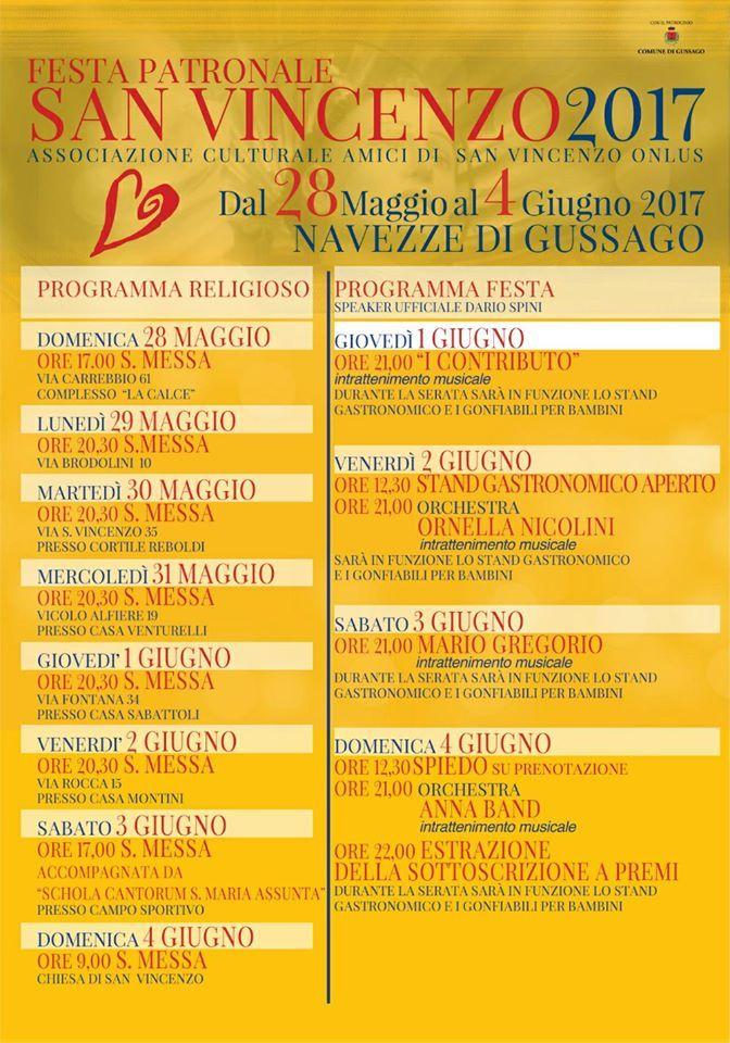 Navezze: dal 28 maggio al 4 giugno la festa patronale di San Vincenzo 2017 - http://www.gussagonews.it/festa-patronale-san-vincenzo-navezze-2017/